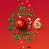 Happy New Year 2016 Greeting Card and Merry Christmas — Stockvector