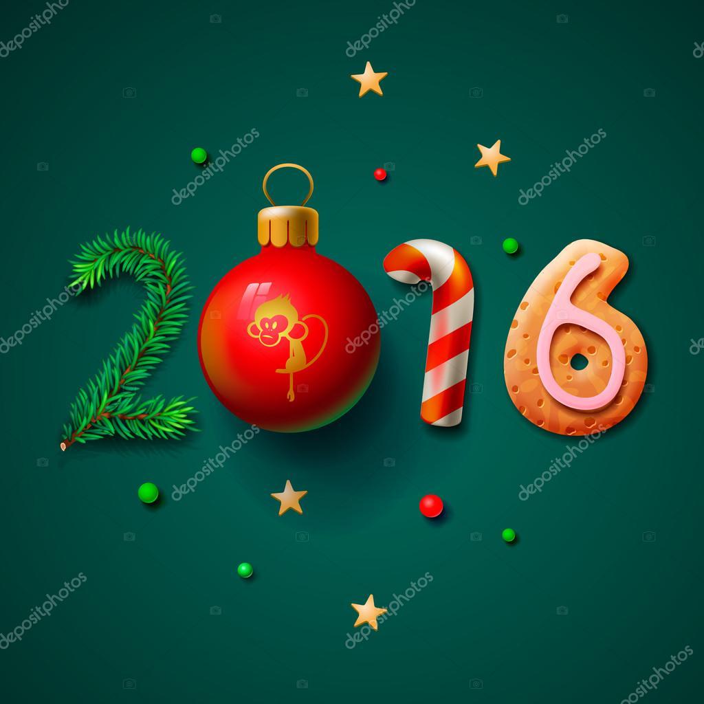 Новый год 2016: открытки с Обезьянками - t 91