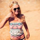 Pretty young hippie caucasian girl — Stock Photo