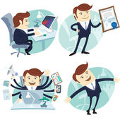 Office man set: showing a diploma, Happy worker, busy white coll — Stock Vector