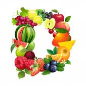 Letter D composed of different fruits with leaves — Stock Vector