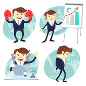 Office man set: showing a presentation, Happy worker at his desk — Stock Vector