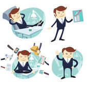 Set of officeman: lazy worker foot on desk, salesman with device — Stock Vector