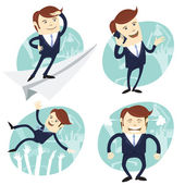 Set of office man: Office man flying an looking to the future, s — Stock Vector