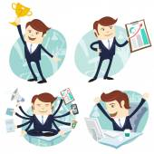 Office man set: showing a graph, Happy worker at his desk, busy  — Stock Vector