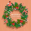 Festive christmas wreath with candy, bullfinch and wooden letter — Stock Vector #54031897