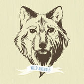 Marker hand-drawn forest animals: wolf — Stock Vector