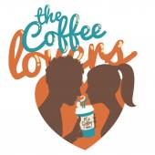 Couple drinking coffee. Flat style. Inscription: The coffee love — Vector de stock