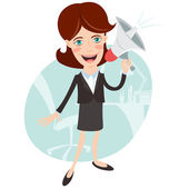 Vector Illustration of Office woman megaphone shouting — Stock Vector