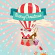 Festive Merry Christmas greeting card with Santa Claus and his d — Stok Vektör #55185425