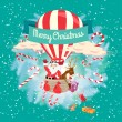 Festive Merry Christmas greeting card with Santa Claus and his d — Stock Vector #55185503