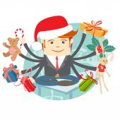 Hipster man wearing Santa Claus' hat sitting on the desk. Presen — Stock Vector