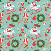 Festive Christmas and New Year seamless pattern in vintage flat  — Stock Vector