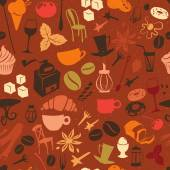 Seamless coffee pattern with latte, cappuccino, pies, doughnuts, — Stock Vector