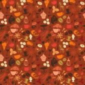 Nahtlose Kaffee Muster mit Latte, Cappuccino, Kuchen, Krapfen, — Stockvektor