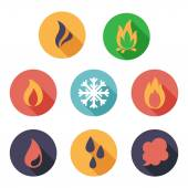 Fire, freeze, steam, water icons. Flat style — Stock Vector