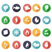 Animals, leaves, fire, frost, steam, water icons. Flat style — Stock Vector