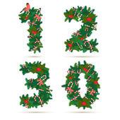 Christmas festive wreath numbers: 1, 2, 3, 0 — Stock Vector