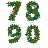 Christmas festive wreath numbers: 7, 8, 9, 0. — Stock Vector