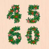 Christmas festive wreath numbers: 4, 5, 6, 0. Wooden background — Stock Vector