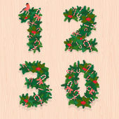 Christmas festive wreath numbers: 1, 2, 3, 0. Wooden background — Stock Vector