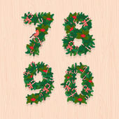 Christmas festive wreath numbers: 7, 8, 9, 0. Wooden background — Stock Vector
