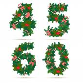 Christmas festive wreath numbers: 4, 5, 6, 0. — Stock Vector