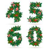 Christmas festive wreath numbers: 4, 5, 6, 0. — Stock Vector