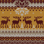 Scandinavian flat style  knitted pattern with deers and elks — Stock Vector