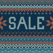 Sale: Scandinavian style seamless knitted pattern. Flat style — Stok Vektör