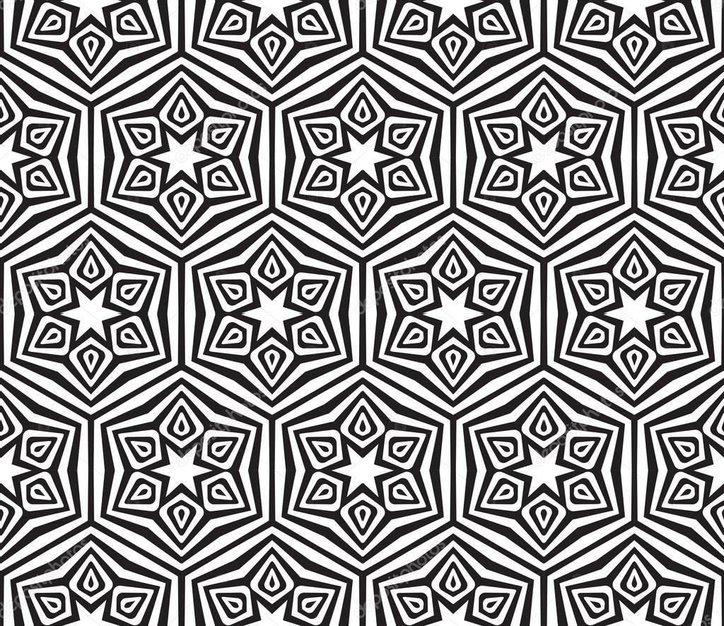 矢量图抽象黑色和白色纹理无缝的几何图案– 图库插图