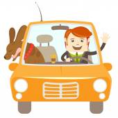 Hipster-traveler driving a car with his dog — Stock Vector