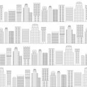 Seamless pattern of line skyscrapers. Black and white — Stock Vector