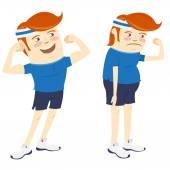 Hipster grappige mannen tonen biceps. Vlakke stijl — Stockvector