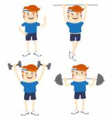 Set of Hipster funny sportsmen doing exercises. Flat style — Stock Vector