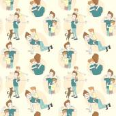 Festive seamless doodle pattern for father's day — Wektor stockowy