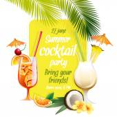 Beach tropical cocktails bahama mama and pina colada with garnis — Stock Vector