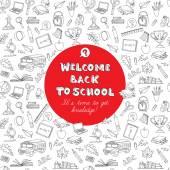 Tillbaka till skolan gratulationskort barn doodles med buss, böcker, co — Stockvektor