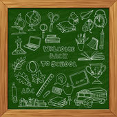 Back to school set of kids doodles with bus, books, computer and — Stock Vector