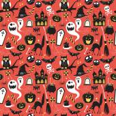 Seamless pattern Of Vintage Happy Halloween flat  icons. Hallowe — Stock Vector