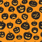 Seamless pattern Of Vintage Happy Halloween pumpkins. Halloween — Stock Vector