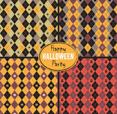 Seamless pattern Of Vintage Happy Halloween Tartan Texture Set. — Stock Vector