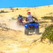 Two quads racing after one another in deserted dusty areas — Stock Photo #52698221