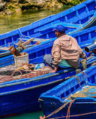 Three blue  boats in the water — Stock Photo