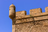 Low-angle shot of corner of a tower battlement  — Stock Photo