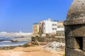 Blurred view to seaside and residential area  — Stock Photo