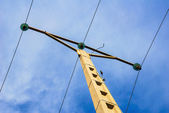 Electricity post with blue sky — Stock Photo