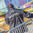Security worker leaning over metallic fence — Stock Photo #54585161