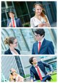 Collage of attractive business people — Stock Photo
