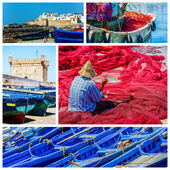 Composition about fishing activity in Morocco — Stock Photo